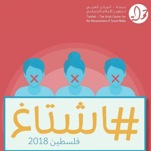 """""""هاشتاغ فلسطين 2018""""  : الحقوق الرقميّة للفلسطينيّين بين مطرقة التشريعات التجريمية وسندان تواطؤ شركات الانترنت"""